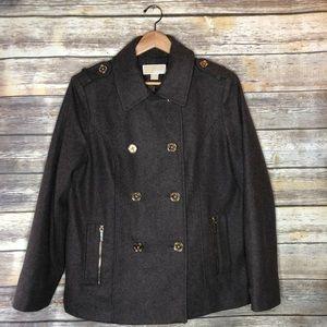 Michael Kors brown wool pea coat jacket XL gold